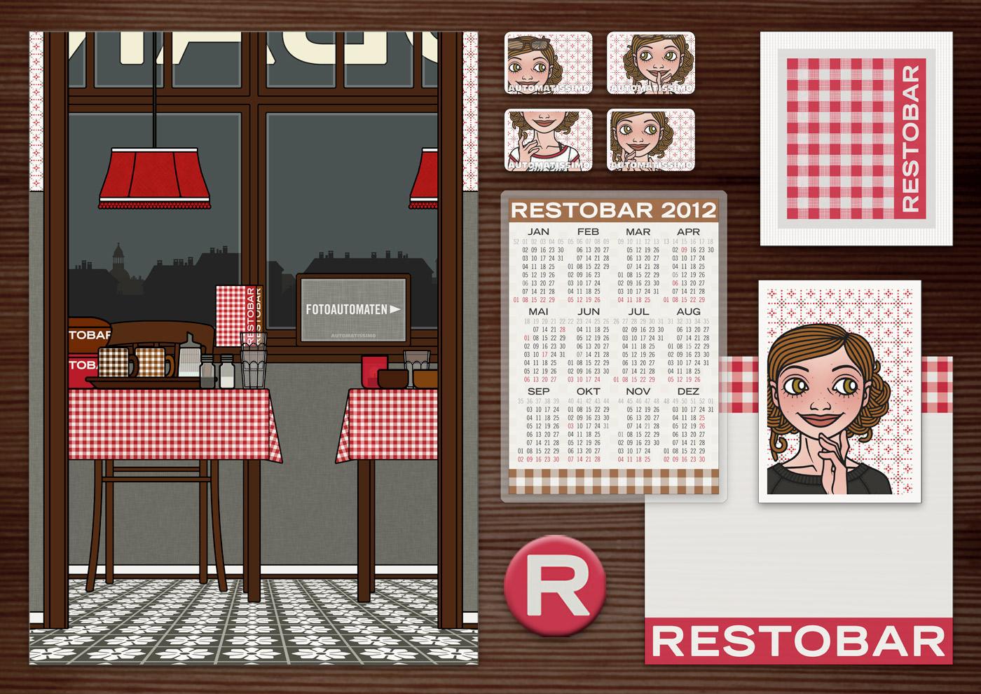 Corporate Identity, Logo und Grafik Design für Werbung, Schilder, Poster, Postkarten, Flyer, Aufkleber, Zuckertütchen und Buttons mit Karos für Lily Lux Restaurant Restobar