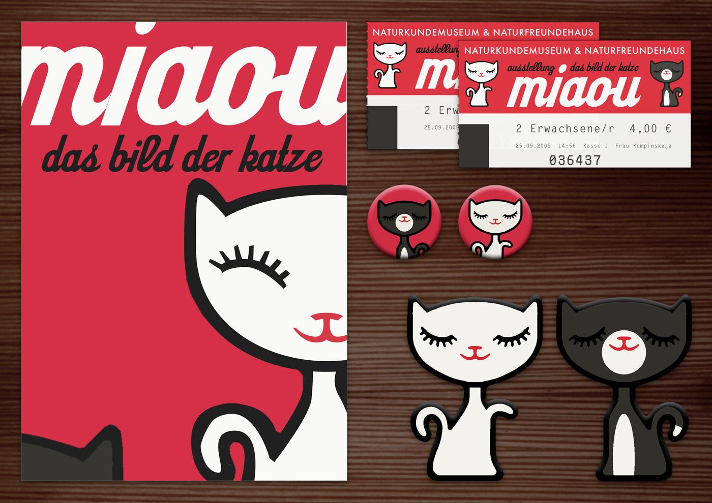 Corporate Identity, Logo und Grafik Design für Werbung, Schilder, Poster, Postkarten, Flyer, Eintrittskarten und Buttons für die Ausstellung Das Bild der Katze in Lily Lux Naturkundemuseum
