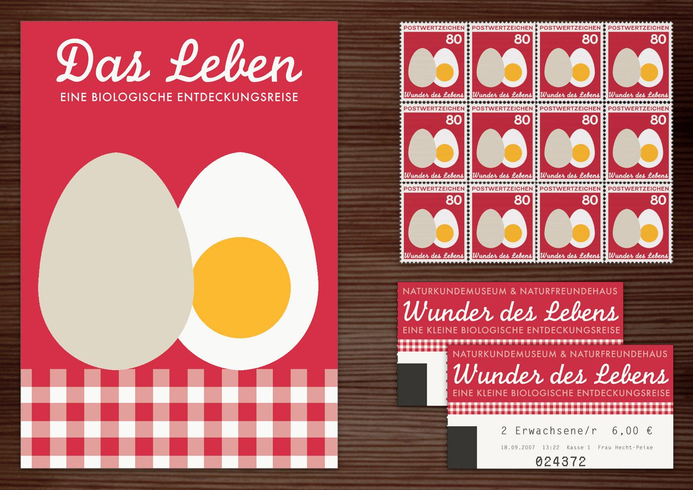 Corporate Identity, Logo und Grafik Design für Werbung, Schilder, Poster, Postkarten, Flyer, Eintrittskarten und Buttons für die Ausstellung Wunder des Lebens in Lily Lux Naturkundemuseum
