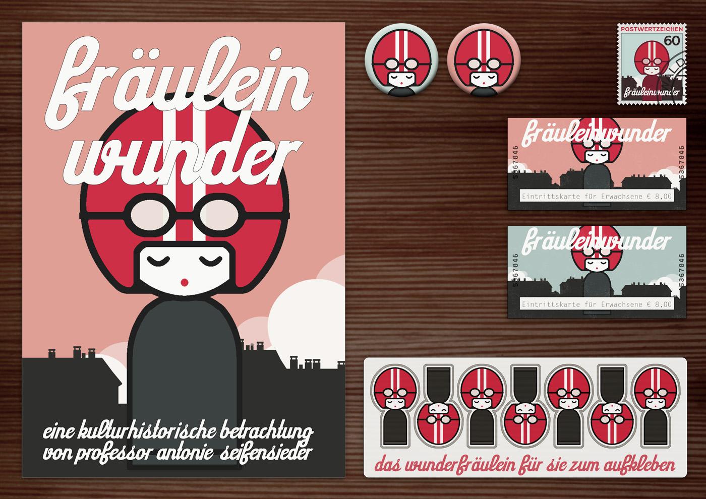 Corporate Identity, Logo und Grafik Design für die Ausstellung Fräuleinwunder in Lily Lux Naturkundemuseum