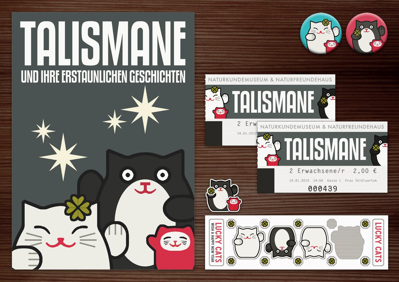 Corporate Identity, Logo und Grafik Design für Werbung, Schilder, Poster, Postkarten, Flyer, Eintrittskarten und Buttons für die Ausstellung Talismane in Lily Lux' Naturkundemuseum