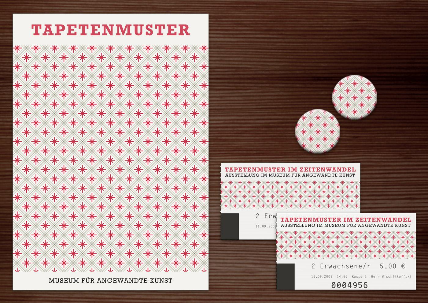 Corporate Identity, Logo und Grafik Design für Werbung, Schilder, Poster, Postkarten, Flyer, Eintrittskarten und Buttons für die Ausstellung Tapetenmuster in Lily Lux Naturkundemuseum