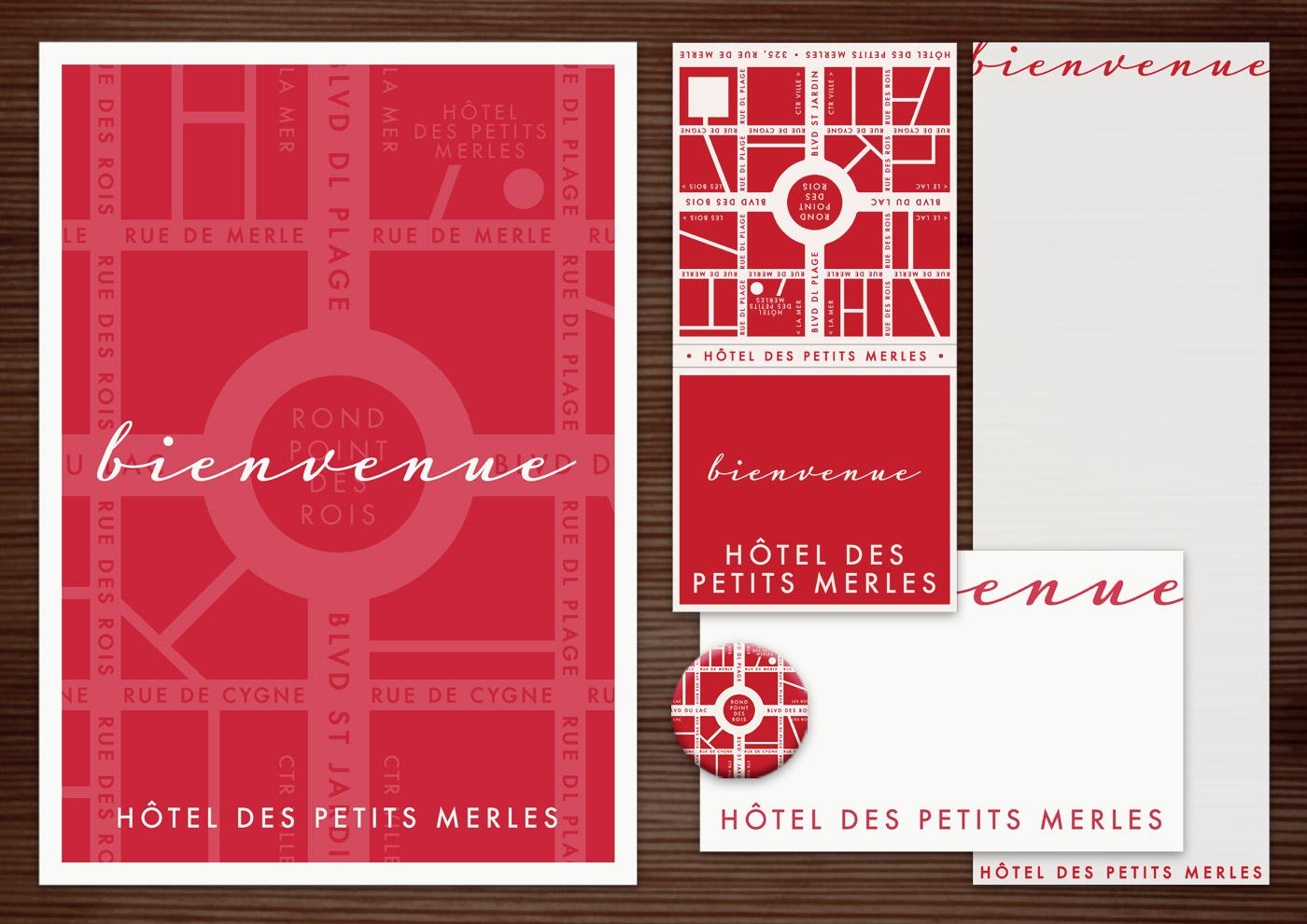 Corporate Identity, Logo und Grafik Design für Werbung, Schilder, Poster, Postkarten, Flyer, Notizblock, Visitenkarten, Streichholzbriefchen und Buttons mit Stadtplan für Lily Lux Petit Merles Hotel