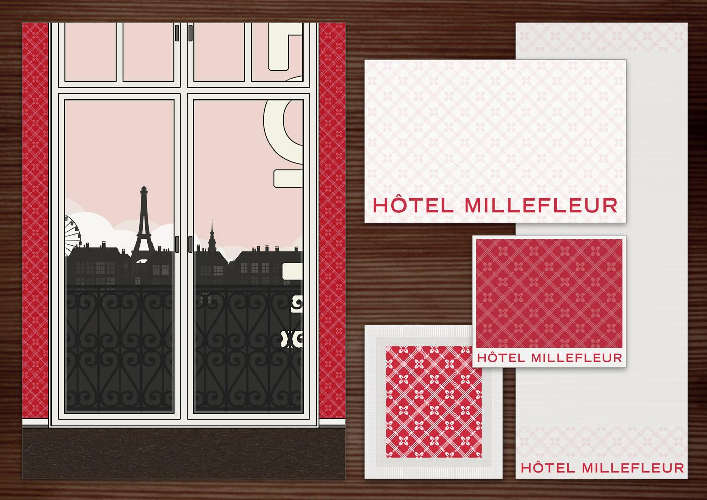 Corporate Identity, Logo und Grafik Design für Werbung, Schilder, Poster, Postkarten, Flyer, Notizblock, Visitenkarten, Streichholzbriefchen und Buttons mit Blümchen für Lily Lux Millefleur Hotel