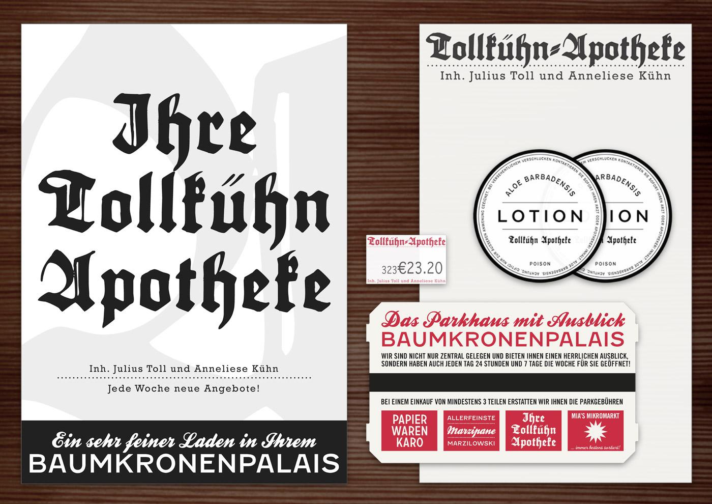 Corporate Identity, Logo und Grafik Design für Werbung, Anzeige, Poster, Aufkleber und Stempel für Lily Lux Tollkühn Apotheke