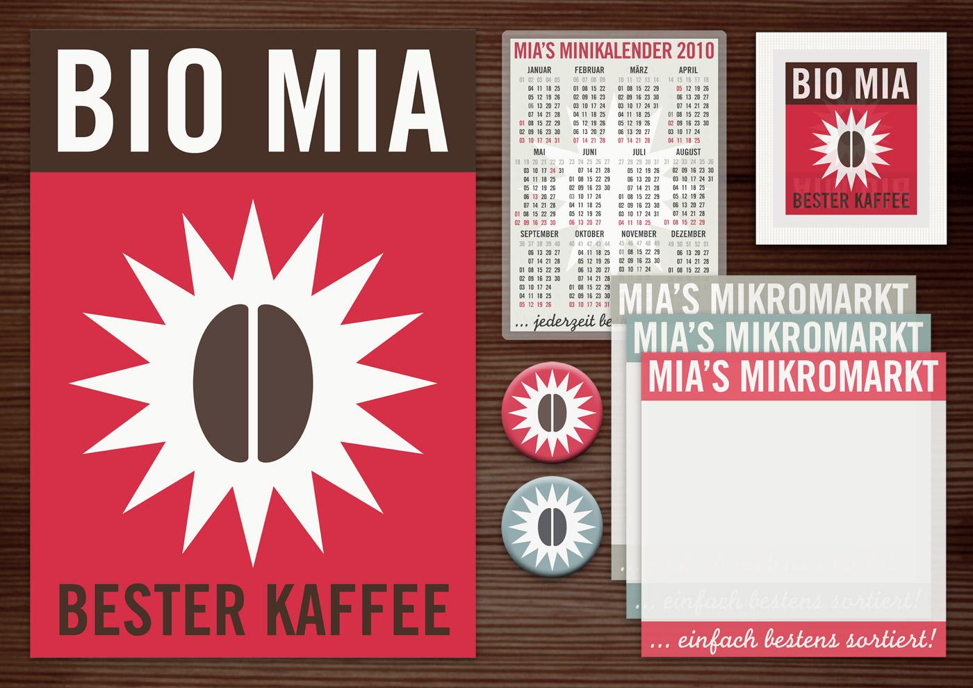 Corporate Identity, Logo und Grafik Design für Werbung, Verpackung, Poster, Postkarten, Flyer, Zuckertütchen, Notizzettel und Buttons mit Kaffeebohne für Lily Lux Bio Mia Kaffee