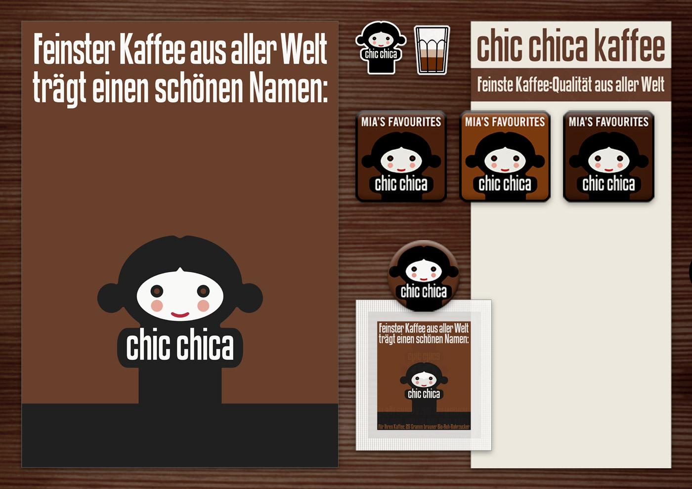 Corporate Identity, Logo und Grafik Design für Werbung, Verpackung, Poster, Postkarten, Flyer, Zuckertütchen, Aufkleber, Magnete, Notizzetteln und Buttons mit Püppchen für Lily Lux Chic Chica Kaffee