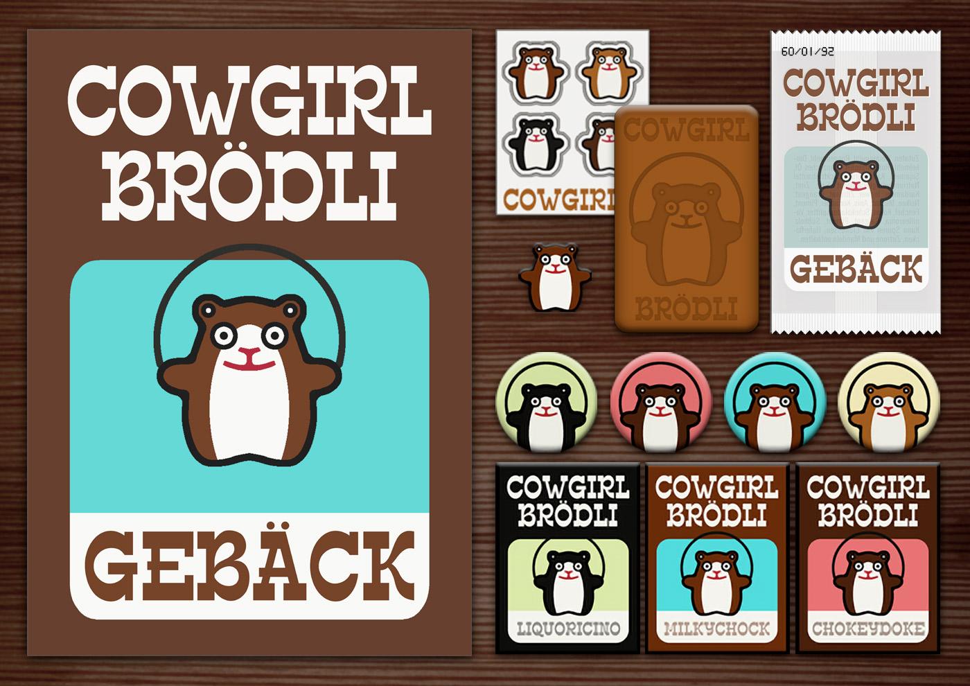 Corporate Identity, Logo und Grafik Design für Werbung, Verpackung, Poster, Postkarte, Flyer, Aufkleber, Keks, Buttons und Magnete mit Hamster für Lily Lux Cowgirl Brödli