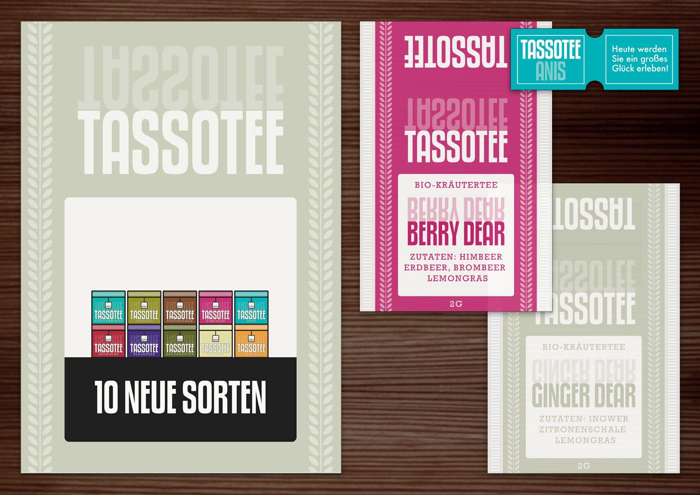 Corporate Identity, Logo und Grafik Design für Werbung, Poster und Verpackung für Lily Lux Tasso Tee im Teebeutel