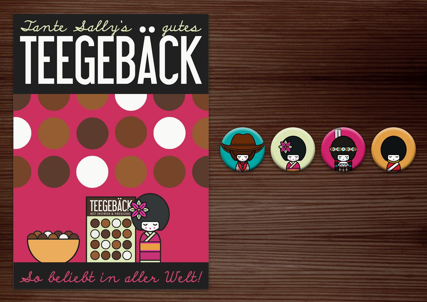 Corporate Identity, Logo und Grafik Design für Werbung, Poster, Verpackung und Buttons mit Püppchen für Lily Lux Teegebäck