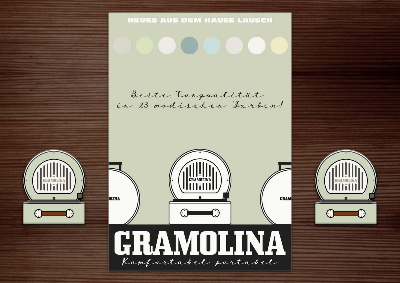 Corporate Identity, Logo und Grafik Design mit Radio für Lily Lux Retro-Grammophon Gramolina