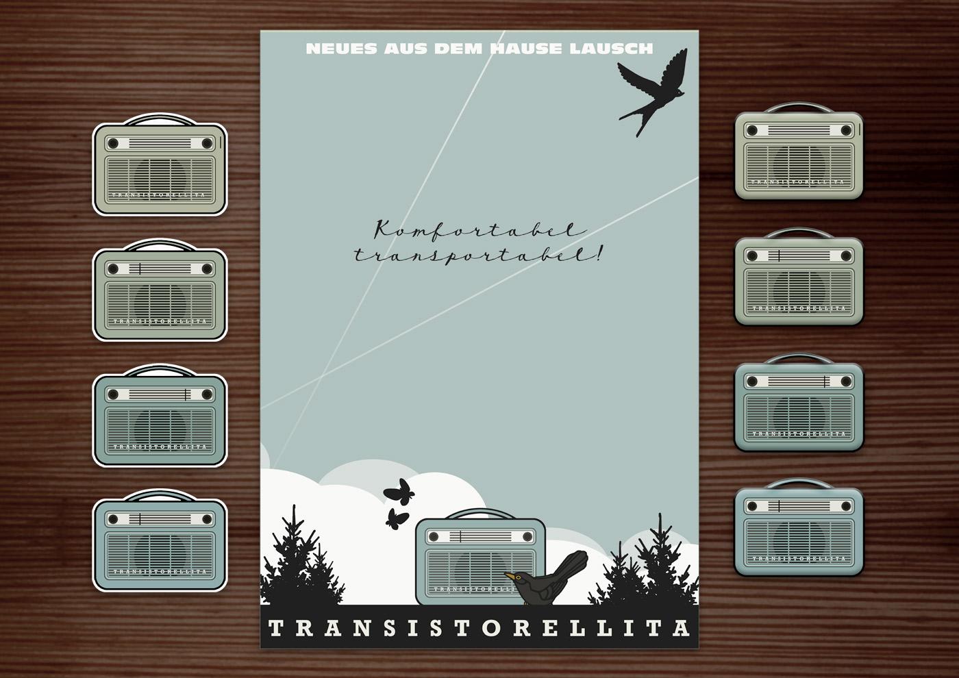 Corporate Identity, Logo und Grafik Design mit Radio für Lily Lux Retro-Radio Transistorellita
