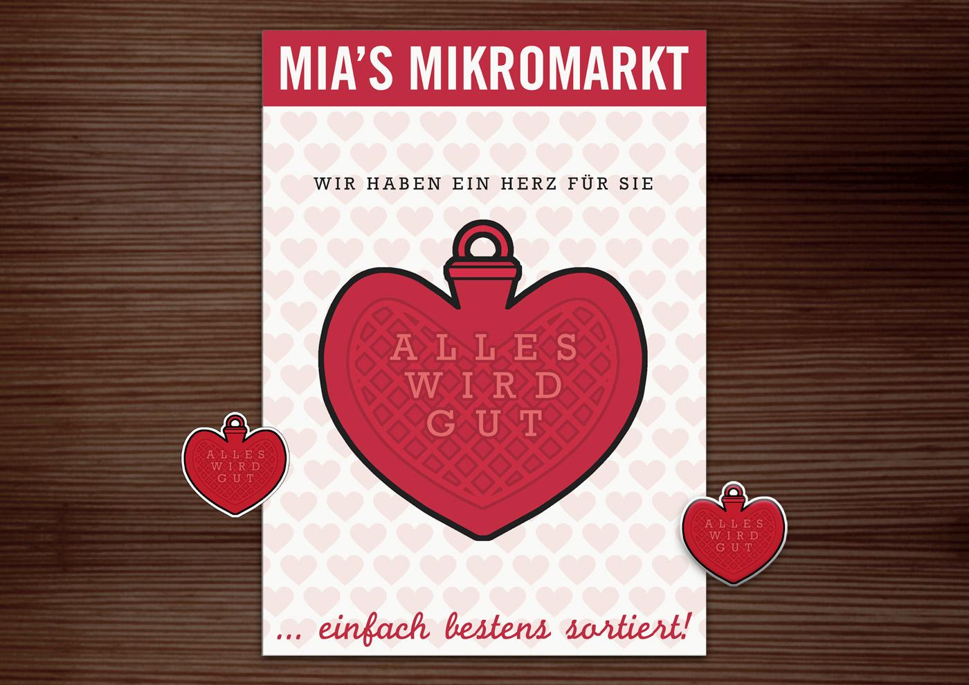Corporate Identity, Logo und Grafik Design mit Wärmherz Herzwärmflasche und Alles-wird-gut für Lily Lux Mia's Mikromarkt