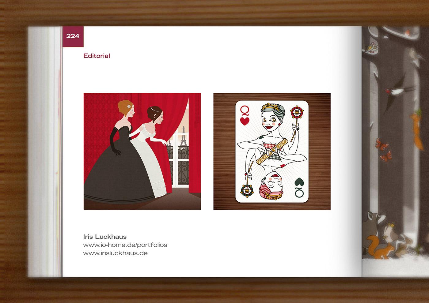 IO- Sedbook mit einer Vektorillustration für ein Märchen mit zwei Mädchen, Freundinnen wie Prinzessinnen, im Ballkleid, die voller Neugier hinter einen roten Vorhang spähen und Paris erblicken