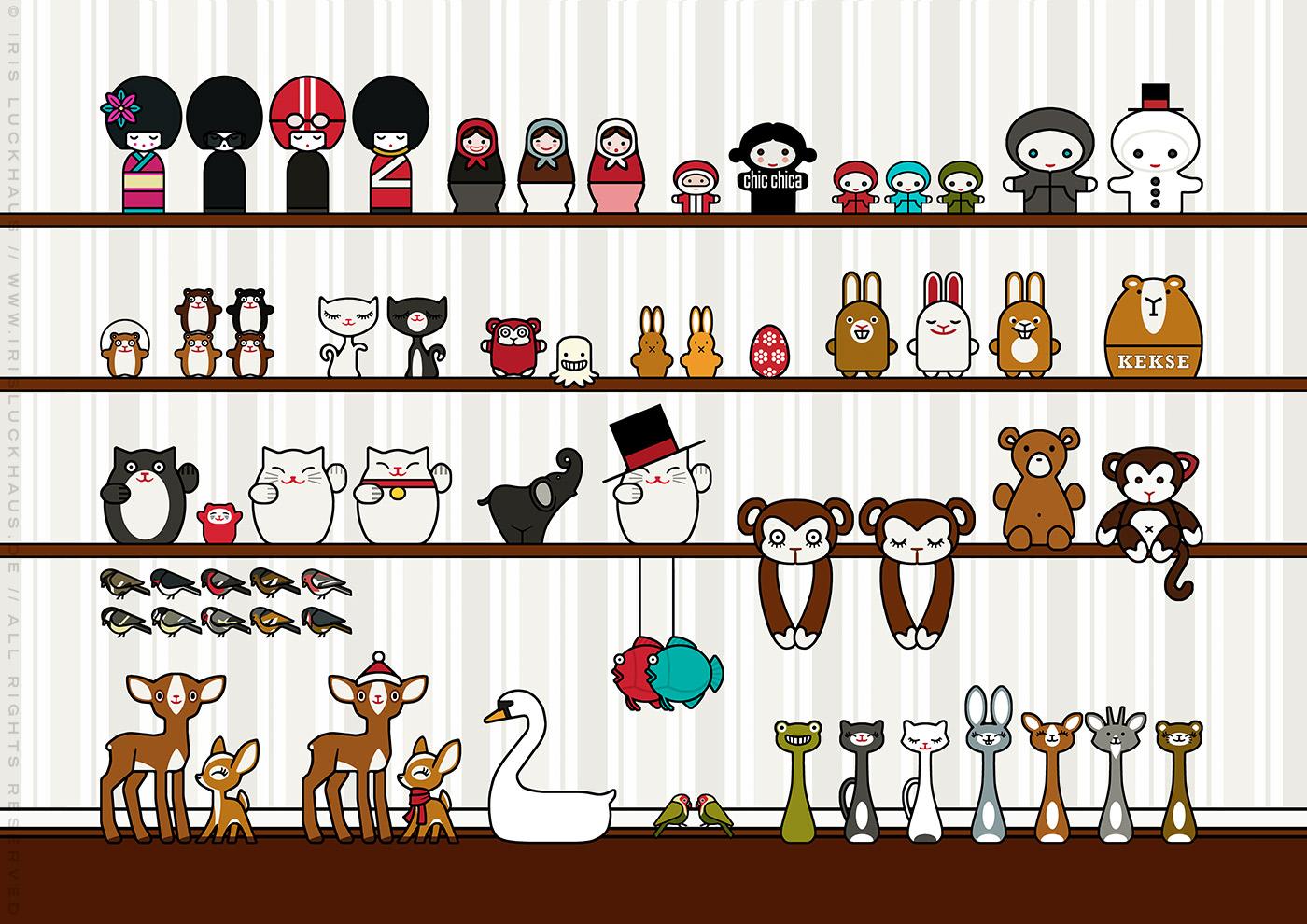Characterdesign für die Freunde, Figuren, Stofftiere und Palstikfiguren von Lily Lux