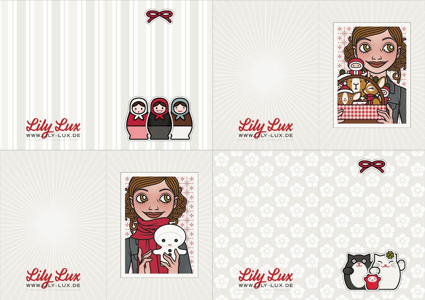 Vorlage für weihnachtliche Geschenkanhänger zum Ausdrucken und Selberbasteln mit Passbildern von Lily Lux und ihren Freunden