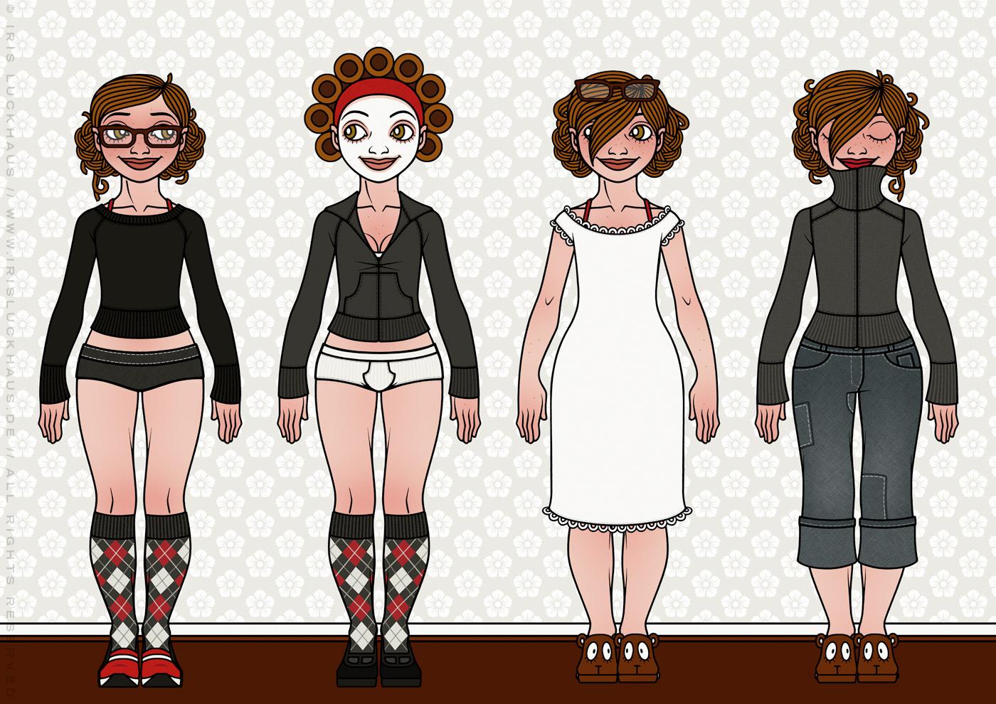 Characterdesign und Styling mit Kleidung, Mode und Zuhause-Outfits wie Unterwäsche, Nachthemd, Gesichtsmaske und Strickjacke für Lily Lux