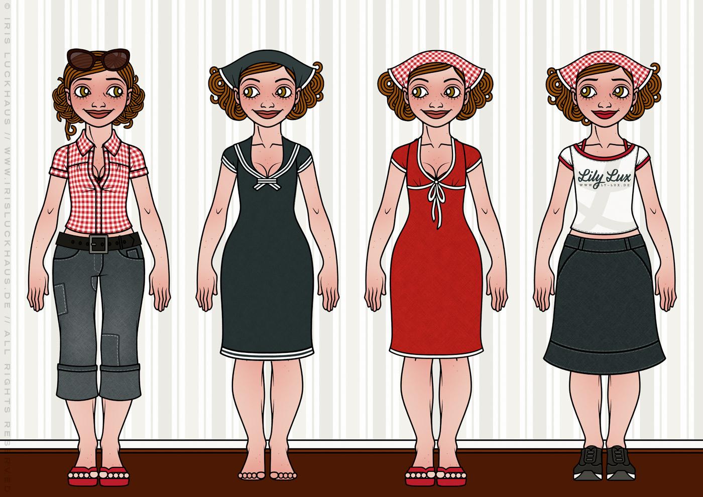 Characterdesign und Styling mit Kleidung, Mode und sommerlichen Outfits wie Blusen, Kopftüchern, Röcken und Kleidchen für Lily Lux