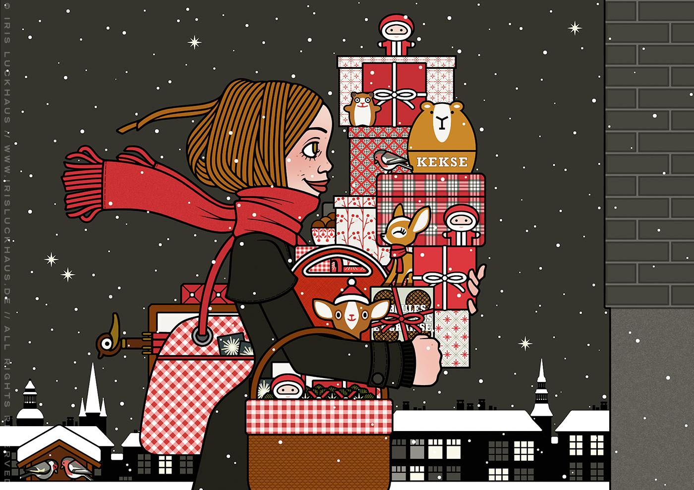 Ausschnitt aus der Zeichnung von einem Mädchen mit rotem Schal, das mit Geschenken bepackt auf der Straße im Schnee unterwegs zu einer Weihnachtsfeier ist, für Lily Lux