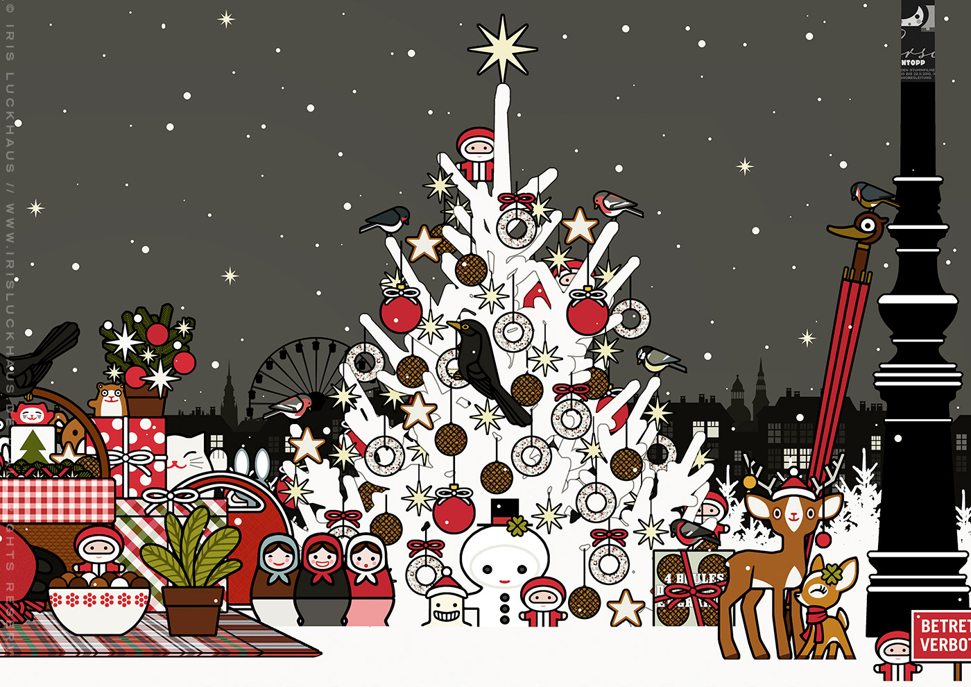 Ausschnitt aus der Zeichnung von einem mit Meisenknödeln geschmückten Weihnachtsbaum und vielen Weihnachtsgeschenken, für Lily Lux