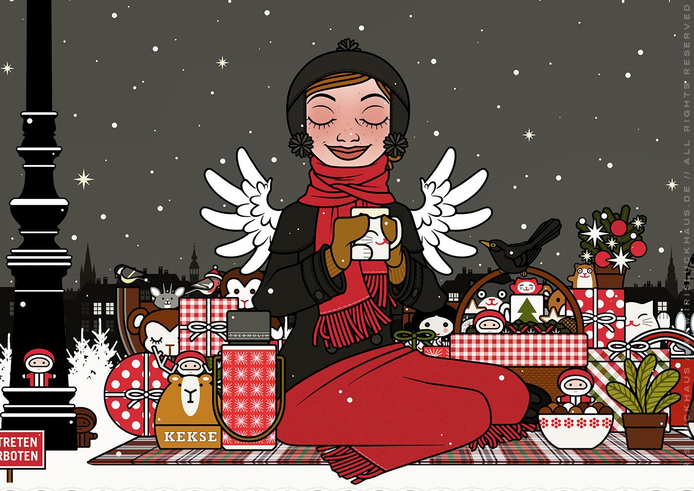Ausschnitt aus der Zeichnung von einem Mädchen, das glücklich im Schnee im Park picknickt, für Lily Lux