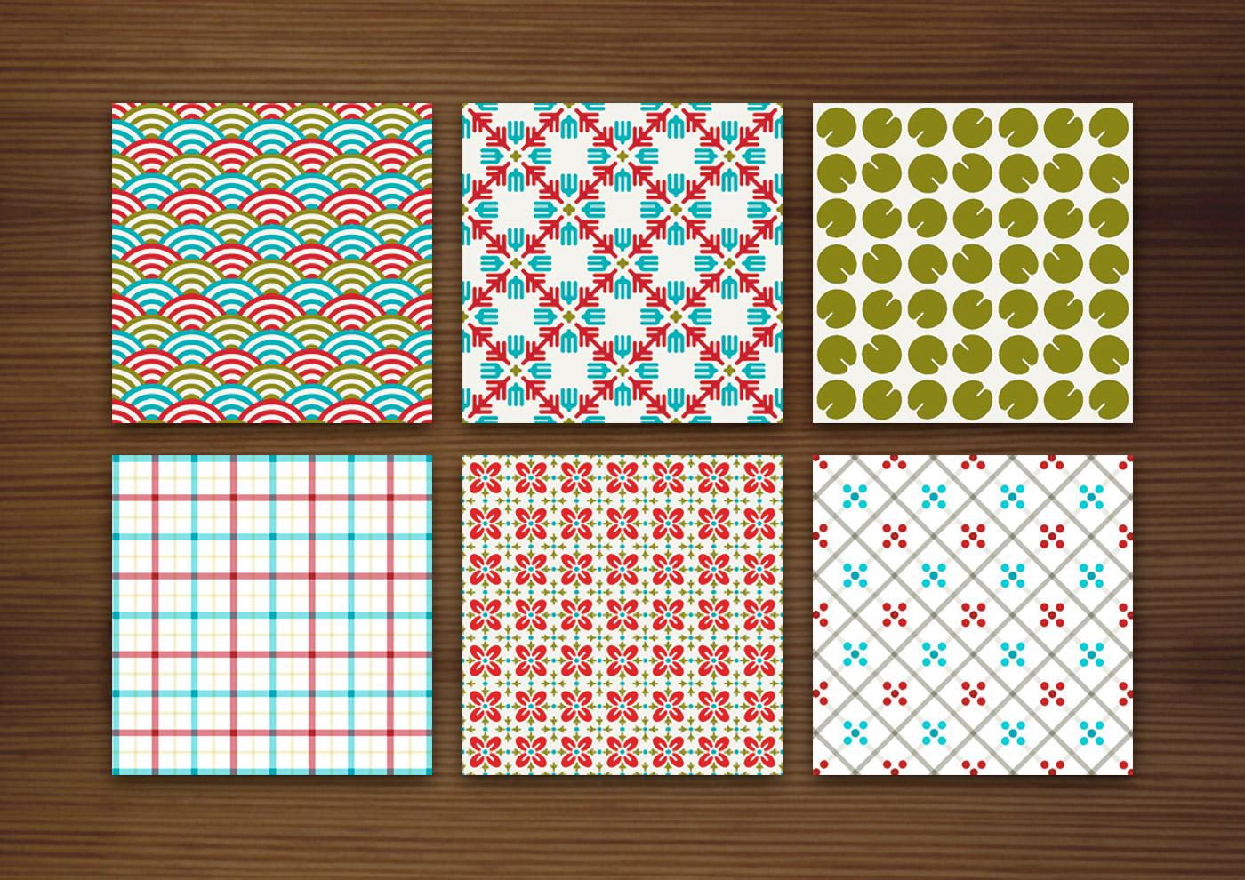Grafik Design für bunte Muster für Stoffe, Tapeten und Papier mit Karos, Sternchen, Blättern, Wellen und Blumen für Produkte und Aufdrucke