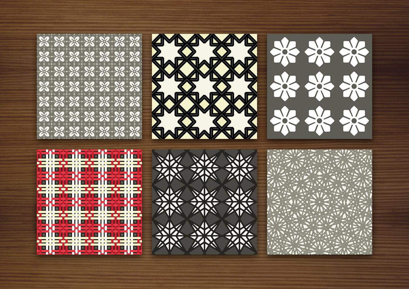 Grafik Design für dunkle Muster für Stoffe, Tapeten und Papier mit Karos, Sternen, Arabesken und Blumen für Produkte und Aufdrucke
