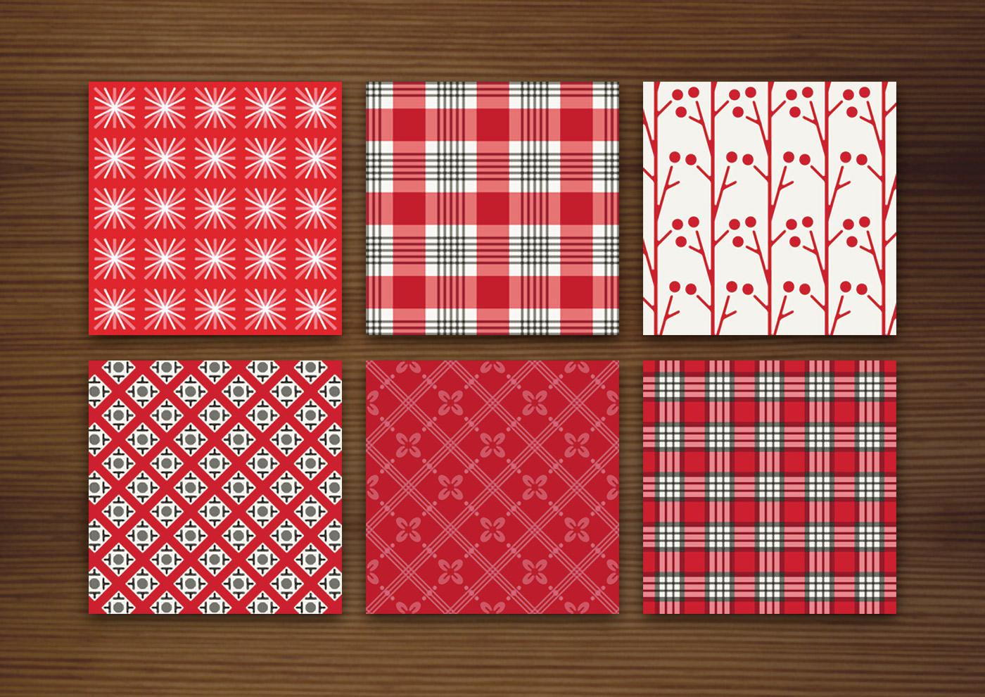 Grafik Design für rote Muster für Stoffe, Tapeten und Papier mit Karos, Sternchen, Beeren, Blumen und Kirschen für Produkte und Aufdrucke