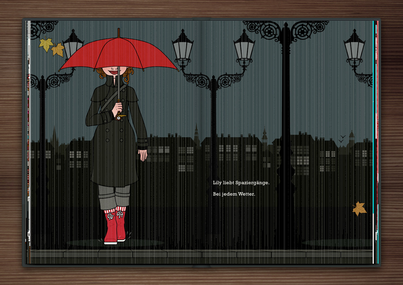 Mädchen spaziert an einem Herbstabend mit einem roten Schirm durch die Stadt, aus dem Buch Die wunderbare Welt der Lily Lux