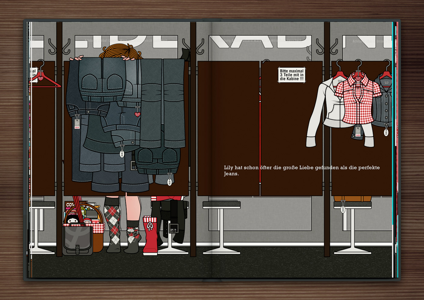 Zeichnung von einem Mädchen beim Einkaufen und Anprobieren von Jeans vor dem Spiegel einer Umkleidekabine im Buch Die wunderbare Welt der Lily Lux