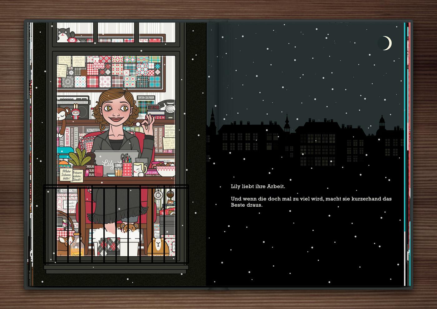 Zeichnung von einem Mädchen, das spät in der Nacht am Macbook oder Laptop arbeitet und dabei einen gemütlichen Sessel, Fußbad, Schokolade, Pralinen und Tee genießt, im Buch Die wunderbare Welt der Lily Lux