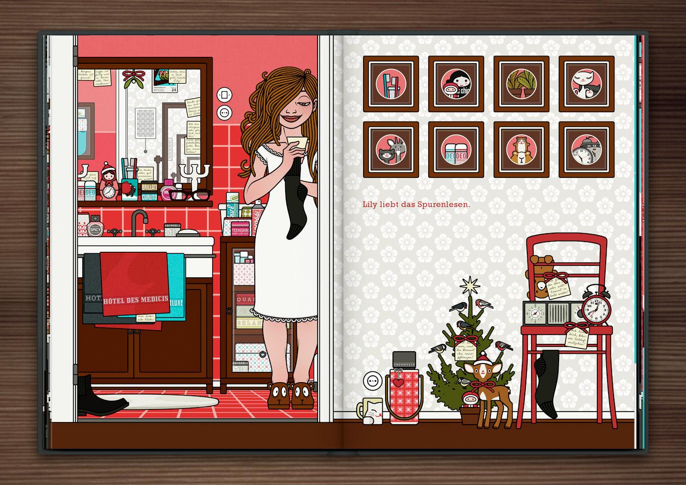 Zeichnung von einem Mädchen, das im Nachthemd mit einer Herrensocke un einem Zettel in der Badezimmertür steht und nach weiteren Spuren ihres Liebsten sucht, im Buch Die wunderbare Welt der Lily Lux