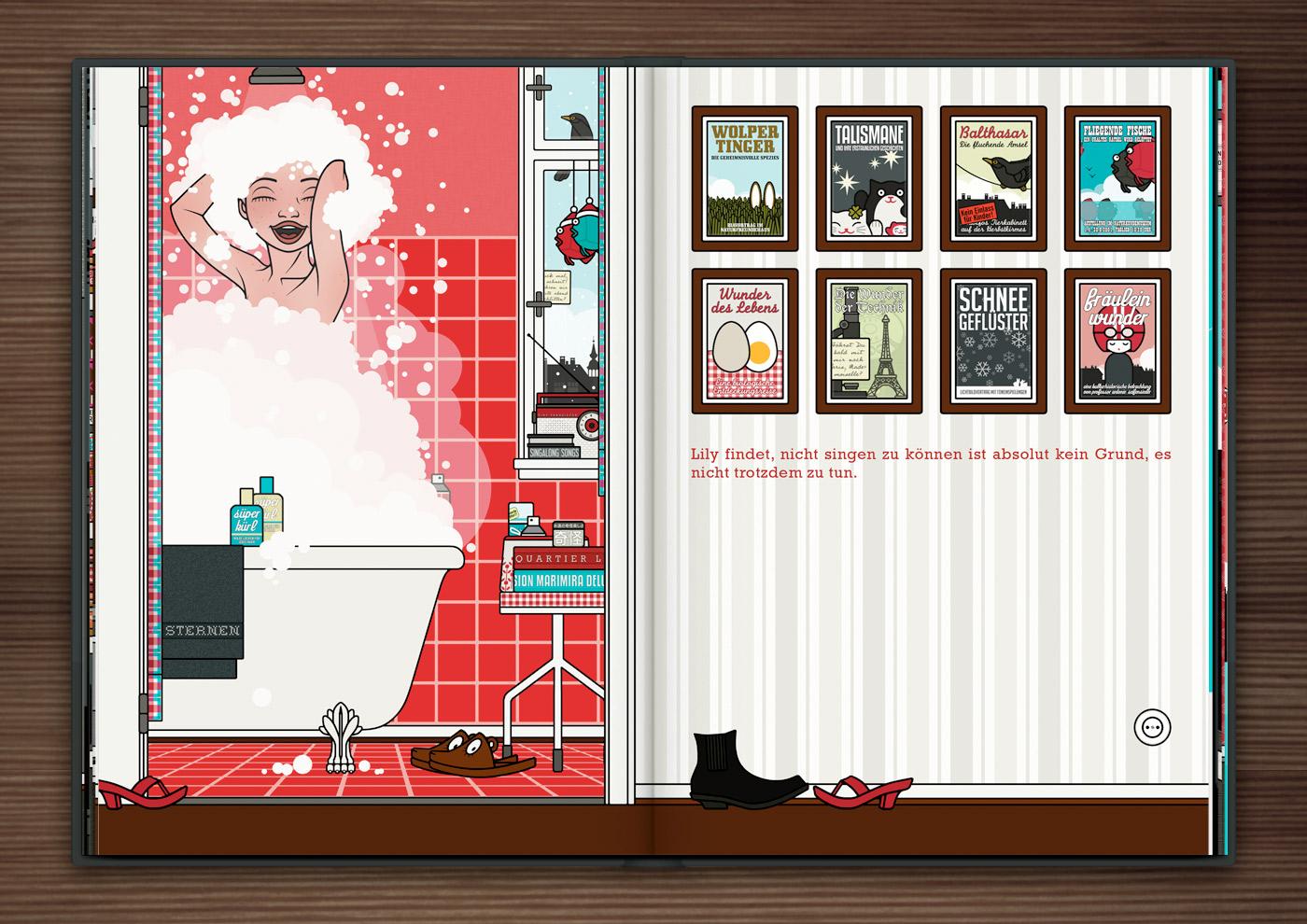 Zeichnung von Mädchen beim Singen unter der Dusche mit viel Schaum in Haar und Badewanne im roten Badezimmer im Buch Die wunderbare Welt der Lily Lux