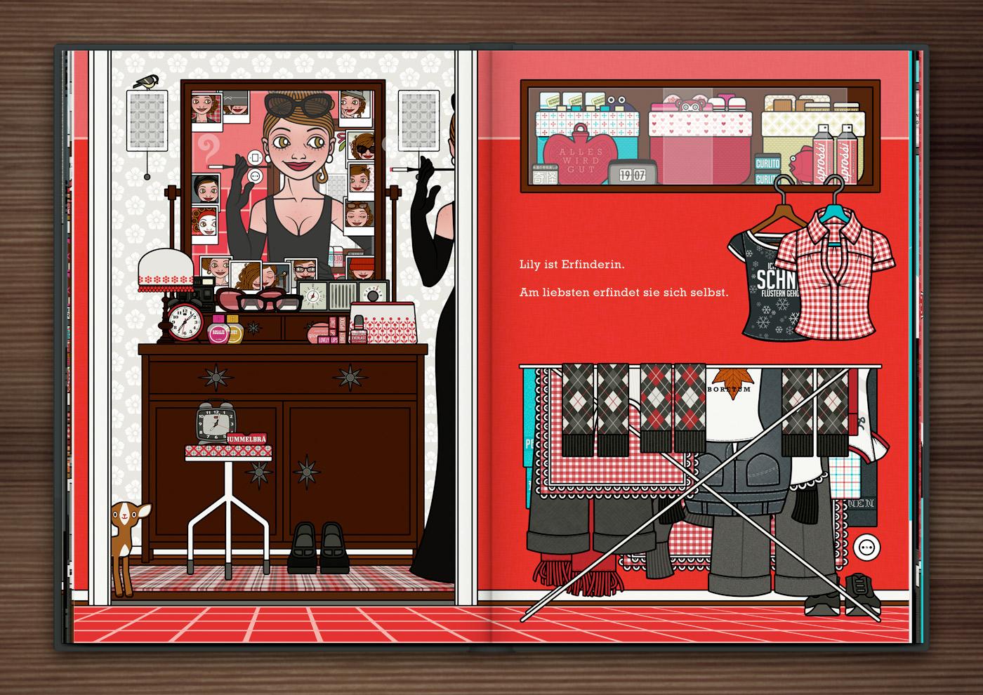 Mädchen erfindet sich neu und mondän mit Abendkleid, Handschuhen, Zigarettenspitze und Sonnenbrille vor dem Spiegel im Schlafzimmer, aus dem Buch Die wunderbare Welt der Lily Lux