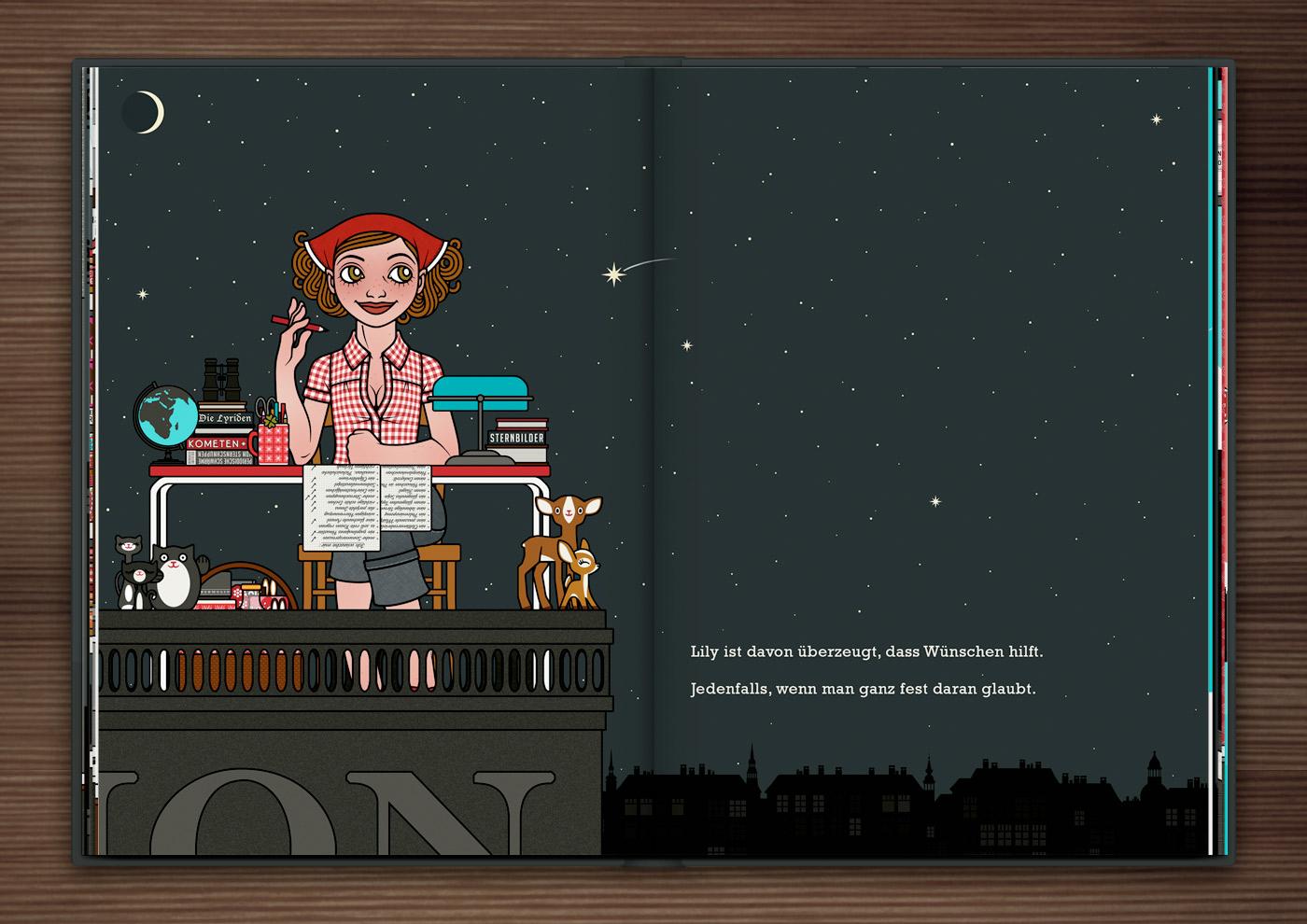 Zeichnung von einem Mädchen, das mit Schreibtisch, Stuhl, Tischlampe, Globus, Fernglas und Büchern bei Nacht auf einem Dach sitzt, Stenschnuppen beoachtet und Wünsche auf einer Liste abhakt, im Buch Die wunderbare Welt der Lily Lux