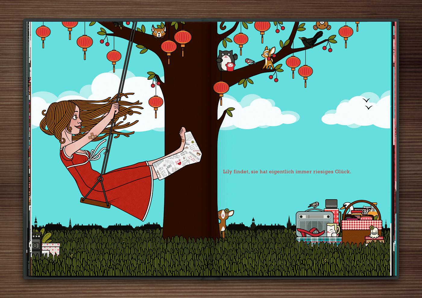 Zeichnung von Mädchen mit Gipsbein auf einer Schaukel am Kirschbaum im Glück im Unglück im Buch Die wunderbare Welt der Lily Lux