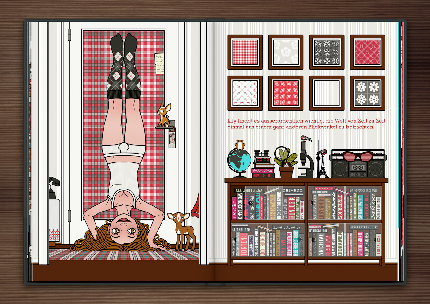 Zeichnung von einem Mädchen, das im Kopfstand den Blinkwinkel oder die Perspektive wechselt, im Buch Die wunderbare Welt der Lily Lux