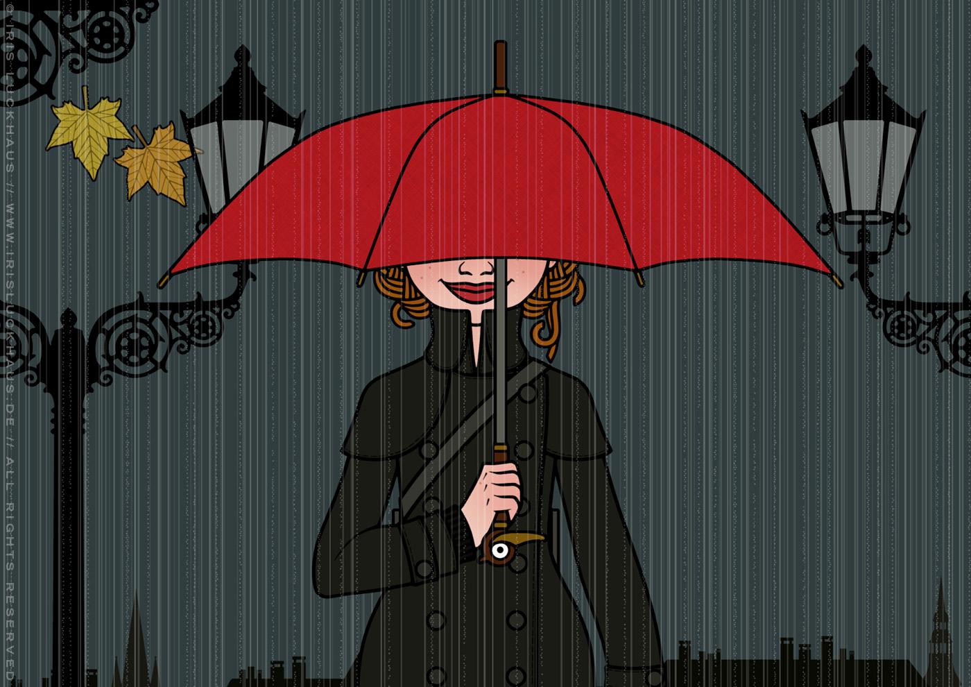Ausschnitt aus der Zeichnung von einem Mädchen beim Spaziergang mit Mantel, Gummistiefeln und rotem Schirm bei Regen und Dunkelheit in der Stadt, für Lily Lux
