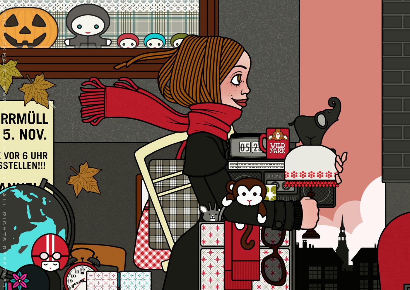 Ausschnitt aus der Zeichnung eines Mädchens, das auf dem Flohmarkt oder Sperrmüll Dinge, Taschen, Lampen, Tassen und Figuren findet und mitnimmt, für Lily Lux