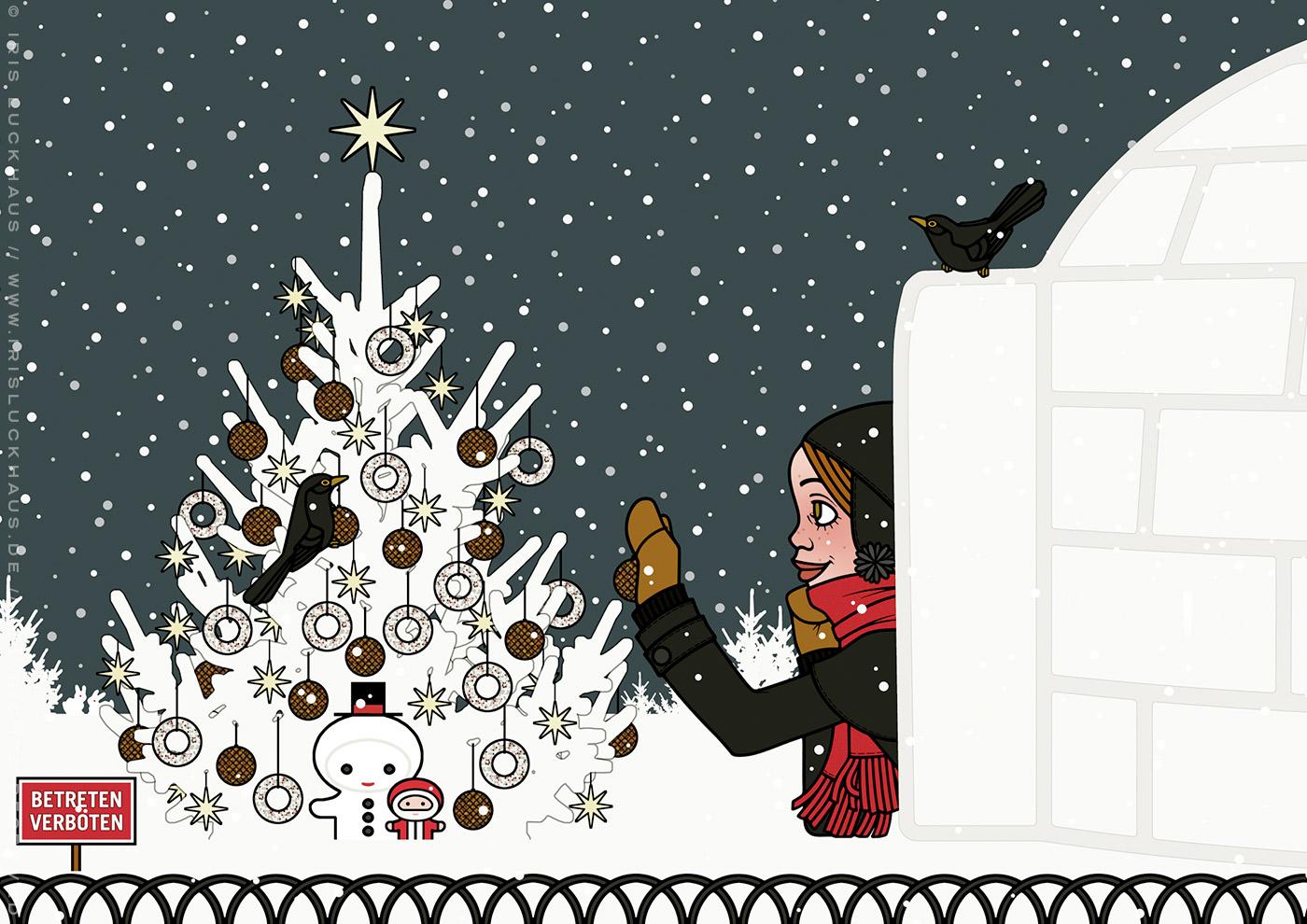 Zeichnung von einem Mächen, das sich im Schnee vor lauer Begeisterung einen Iglu gebaut hat und nun mit einer Amsel einen Tannenbaum mit Meisenknödeln schmückt, für Lily Lux