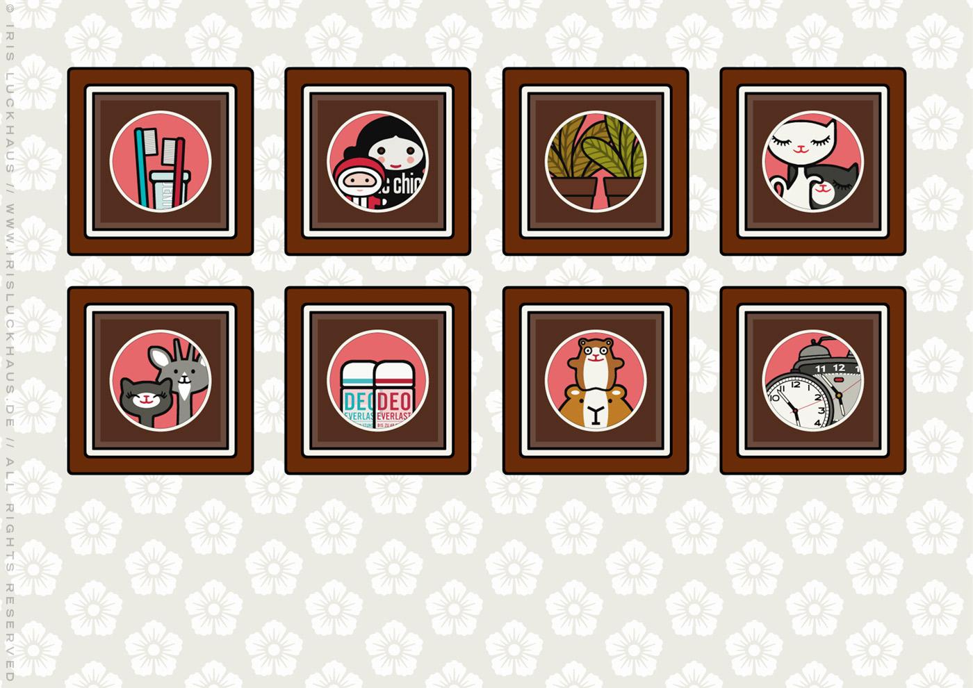 Zeichnung von mehreren Rahmen mit gezeichneten Fotos von Dingen und Figuren als Paare, für Lily Lux