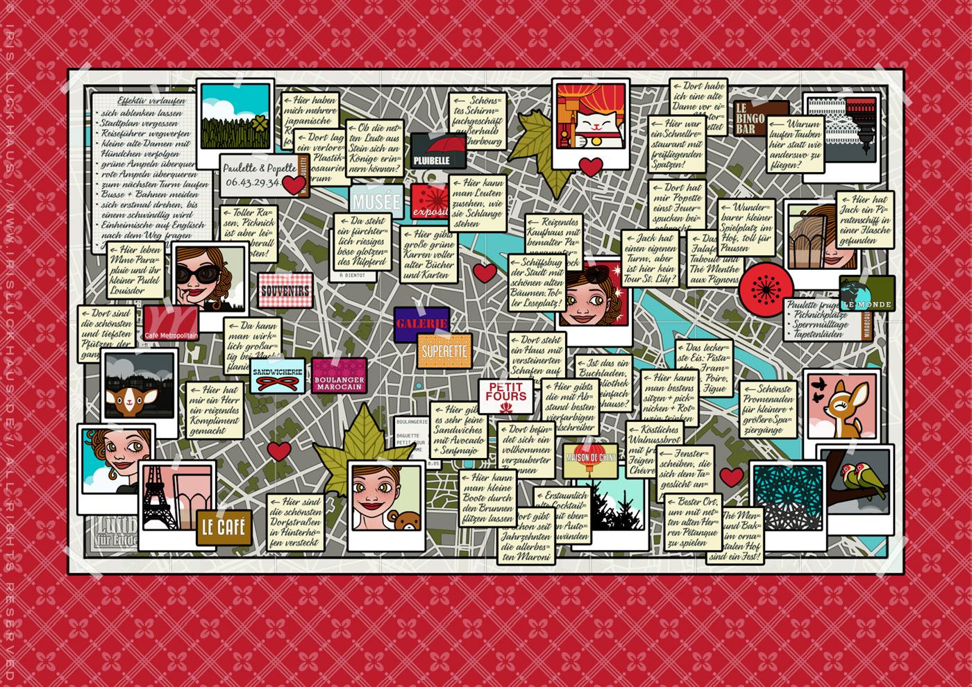 Ausschnitt mit der Zeichnung von einem Stadtplan von Paris voller Zetteln mit selbst gefundenen Sehenswürdigkeiten, für Lily Lux