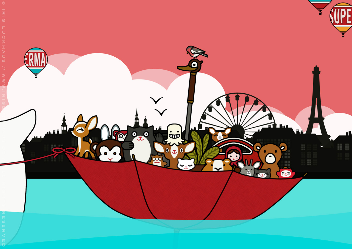 Zeichnung vom Sonntagsausflug mit Schirmboot und Figuren auf dem See vor der Stadt für Lily Lux