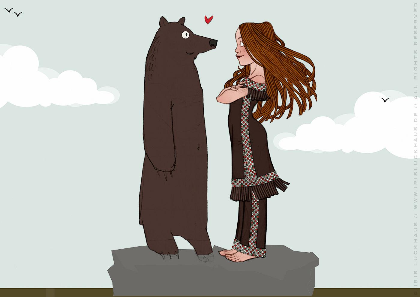Zeichnung von Lily Lux als Indianer-Squaw Nschotschi, die Schwester Winnetous, mit einem Grizzly Bär im wilden Westen