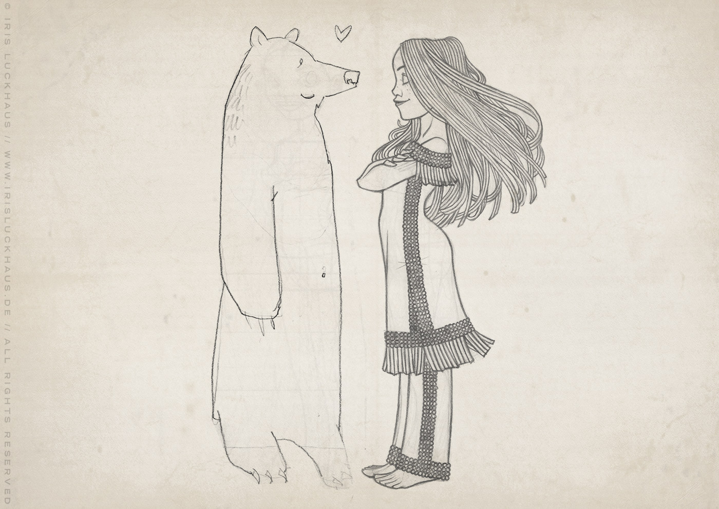 Skizze von Lily Lux als Indianer-Squaw Nschotschi, die Schwester Winnetous, mit einem Grizzly Bär im wilden Westen