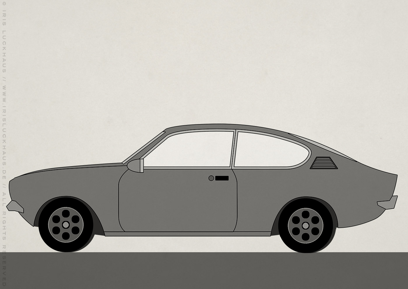 Kleine Schwarzweiss Zeichnung von einem Opel Kadett Auto für Erklärvideo zum Selbermachen von Scribblepower