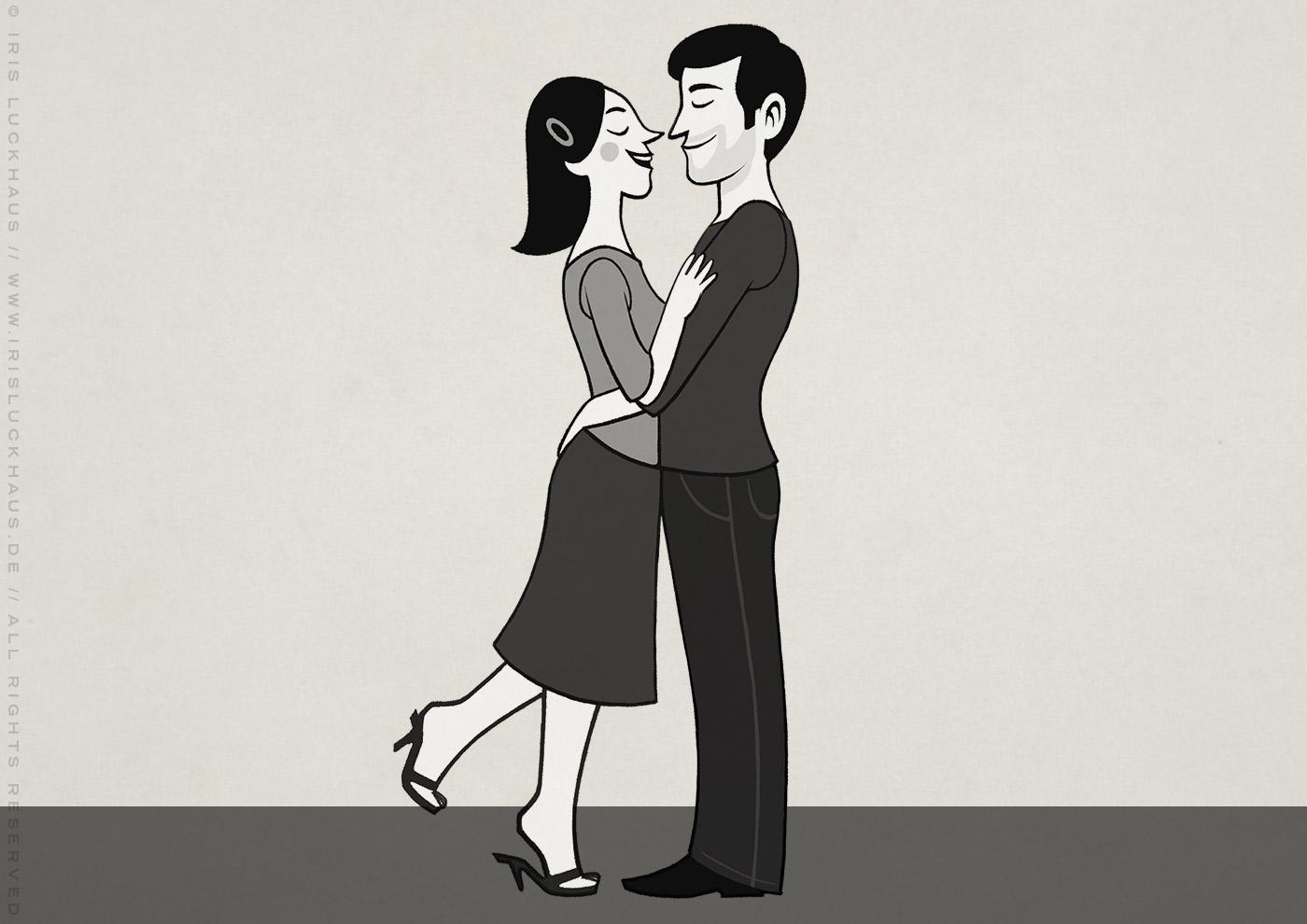 Kleine Schwarzweiss Zeichnung von einem glücklichen Paar für Erklärvideo zum Selbermachen von Scribblepower