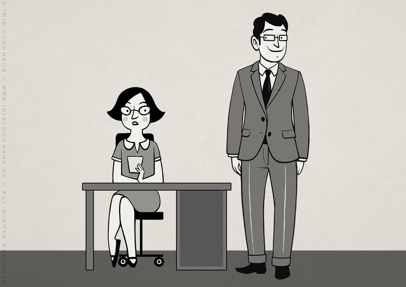 Kleine Schwarzweiss Zeichnung von einem Chef und einer Sekretärin am Schreibtisch für Erklärvideo zum Selbermachen von Scribblepower