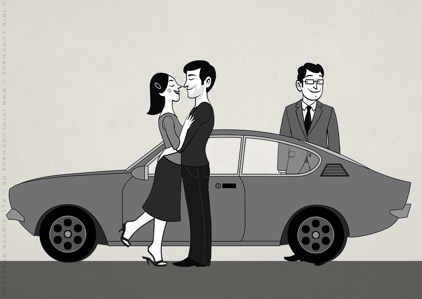 Zusammenstellung von Schwarzweiss Zeichnungen von Paar, Auto und Chef für Erklärvideo zum Selbermachen von Scribblepower