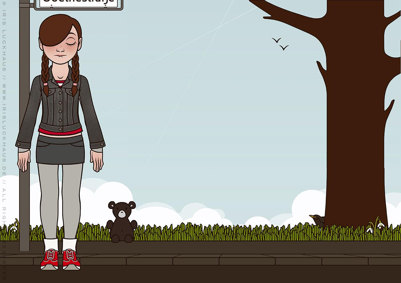 Characterdesign und Styling der Outdoorkleidung von einem schlecht gelaunten Mädchen für das Buch Tiny Lily